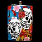 Stainless Steel Flask - 8oz., Day of the Dead Sugar Skulls with Flower Background
