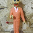 Clay Day of the Dead Figure, Business Man in Orange Suit with Devil Horns
