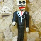 Clay Day of the Dead Figure, Man in Black Suit with Black Hat