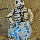 Ceramic Day of the Dead Figure, Woman in Blue Skirt with Pink Flower Design