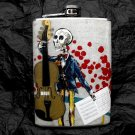Stainless Steel Flask - 8oz., Day of the Dead Skeleton with Guitar and White Background