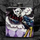 "Stainless Steel Flask - 6oz., Day of the Dead Skeleton with Wings and ""Love"" Banner"