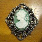 Silver Filigree Setting with Green Background Cameo, Pendant