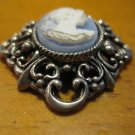 Silver Filigree Setting with Blue Background Cameo, Pendant