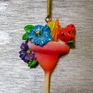 Tropical Drink Ornament, Pink Drink with Flowers