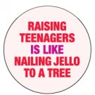 """Raising Teenagers is like Nailing Jello to a Tree"" Button/Pin"
