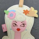 Vinyl Dolly Girl Luggage Tag, Blonde Hair Pink and Orange Flower