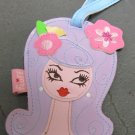 Vinyl Dolly Girl Luggage Tag, Purple Hair with Two Pink Flower