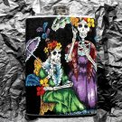 Stainless Steel Flask - 8oz., Day of the Dead Skeleton Women with Black Background