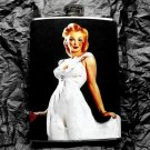 Stainless Steel Flask - 8oz., Pin Up Girl in White Dress with Black Background