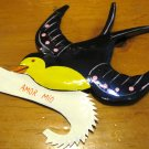 Hand Painted Tin Bird Hanging Ornament, Purple and Yellow with Banner
