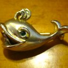 Gold Colored Whale Pin/Brooch with Green Rhinestone Eye