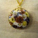 Circular Cameo Pendant Necklace, Purple, Yellow, Blue, and White Flower Print