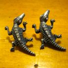 Super Rad Retro Silver Crocodile Post Earrings with Rhinestone Accents