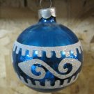 Vintage Glass Christmas Ornament, Blue with White Sparkle Design