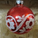 Vintage Glass Christmas Ornament, Red with White Sparkle Flower Design