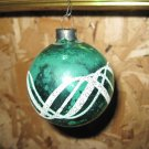Vintage Glass Christmas Ornament, Green with White Sparkle Design