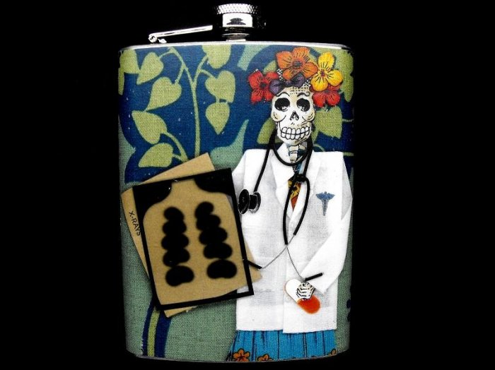 Stainless Steel Flask - 8oz., Day of the Dead Skeleton Doctor