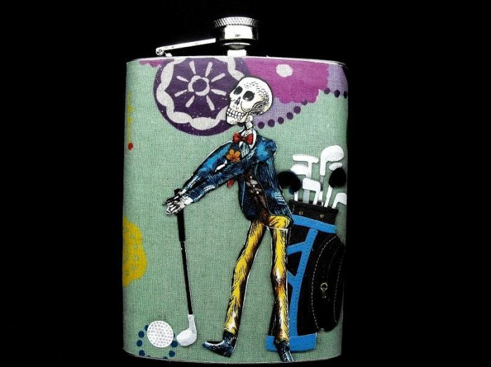 Stainless Steel Flask - 8oz., Day of the Dead Skeleton Golfer
