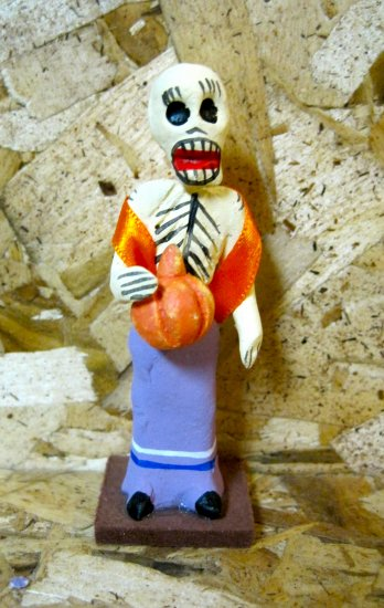 Clay Day of the Dead Figure, Peasant Woman Holding Pumpkin