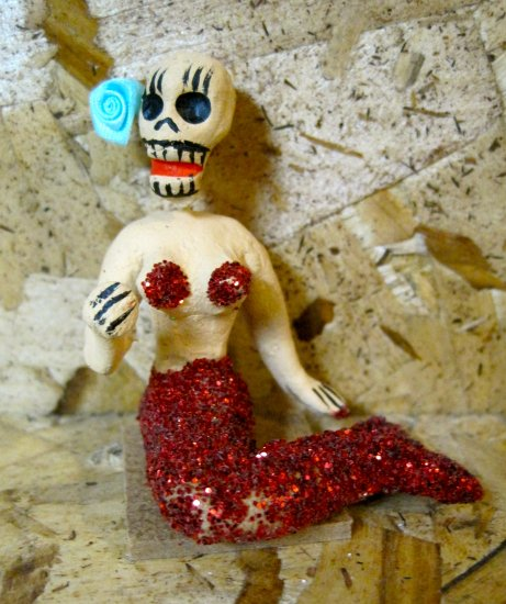 Clay Day of the Dead Figure, Mermaid