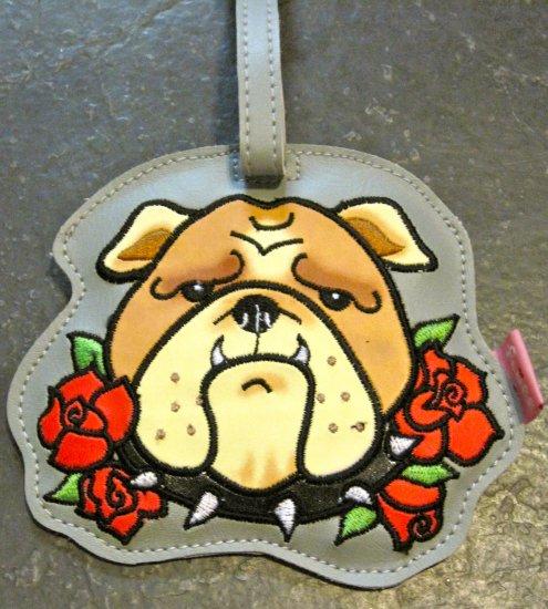 Vinyl Bull Dog Tattooed Pooch Luggage Tag