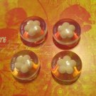 Set of Four Retro Plastic Flower Buttons
