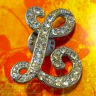 "Rhinestone Covered Letter ""L"" Pin"