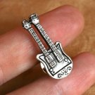 Silver Double Neck Electric Guitar Tie Tack, Hand Made