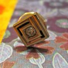Retro Gold Triangle/Square Tie Tack with Rhinestone