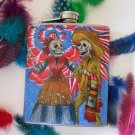 Stainless Steel Flask - 6oz., Day of the Dead Couple with Blue and Pink Flower Background