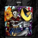 Stainless Steel Flask - 6oz., Day of the Dead Couple with Orange Flower Background