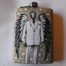 Stainless Steel Flask - 8oz., Lucha Libre Wrestler in Suite with Wings