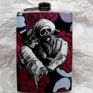 Stainless Steel Flask - 8oz., Black and White Day of the Dead Couple, Rose Background