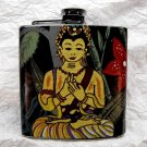 Stainless Steel Flask - 6oz., Meditating Man with Forest Print Background