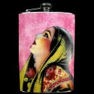 Stainless Steel Flask - 8oz., Spanish Lady with Pink Background