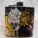 Stainless Steel Flask - 6oz., Owl with Purple Flower Background