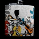 Stainless Steel Flask - 6oz., Day of the Dead Skeleton Band
