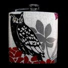 Stainless Steel Flask - 6oz., Black Owl with Flower Background