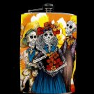 Stainless Steel Flask - 8oz., Day of the Dead Skeletons with Yellow Flower