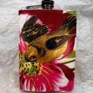 Stainless Steel Flask - 8oz., Yellow Bird with Pink Flower Background