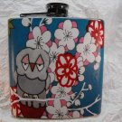 Stainless Steel Flask - 6oz., Owl on Blue Background with Flowers