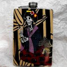 Stainless Steel Flask - 8oz., Day of the Dead Skeleton Geisha with Bamboo Background