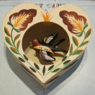 "Hand Painted Hard Paper Heart with Clay Bird and ""Te Amo"" Banner"