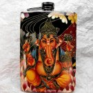 Stainless Steel Flask - 8oz., Lord Ganesha on Colorful Print Background