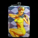 Stainless Steel Flask - 8oz., Pin Up Girl in Yellow on Checkered Background