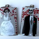 Set of Two Stainless Steel Flask - 8oz., Day of the Dead Skeleton Bride and Groom
