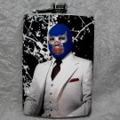 Stainless Steel Flask - 8oz., Luche Libre Masked Man in Suit