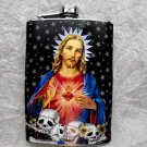 Stainless Steel Flask - 8oz., Jesus with Skulls and Star Background