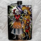 Stainless Steel Flask - 8oz., Day of the Dead Skeleton Couple with Purple Flower Background